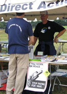 Information table at a demonstration