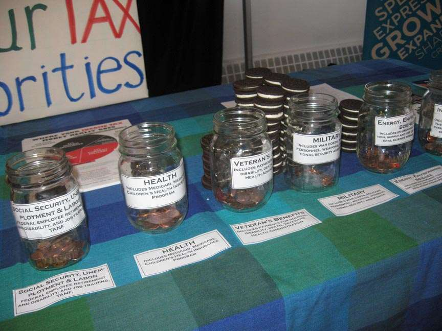 close-up of the labeled fronts of five penny poll jars