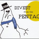 "drawing of melting snowman wearing a black hat that says ""Melty"" and a blue scarf with ""Border Free"" printed on it. Text: DIVE$T from the PENTAGON over a simple yellow sun."