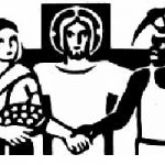 Catholic Worker logo in a woodcut black-and-white art style. Showing a cross behind Jesus in the center, with a light-skinned woman on the left holding a basket and carrying a baby on her back, and a dark-skinned man on the right holding a pickaxe.