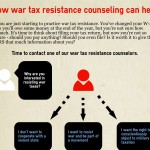 "a draft of one potential infographic, called ""How war tax resistance counseling can help,"" with text of a dialogue with possible answers between a counselor and a WTR"