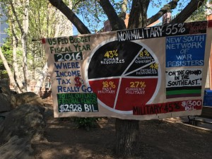 a large banner depicting the 2016 federal budget as a pie chart from the New South Network of War Resisters