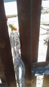 A black cardboard cutout of a person holding a flower slips between the bars of the border wall.