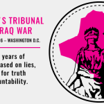 The People's Tribunal on the Iraq War - December 1-2, 2016 - Washington DC - After 15 years of costly war based on lies, it's time for truth and accountability [with picture of a woman holding scales superimposed over the silhouette of Iraq's borders]