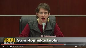 Sam Koplinka-Loehr, NWTRCC Field Organizer, testified at the Iraq Tribunal on Friday, December 2nd about the costs of the war. Their testimony is below.