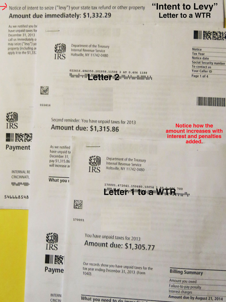 stack of Intent to Levy letters from the IRS