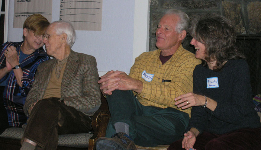 Robin (yellow shirt) with Priscilla Adams (right) and Wallace Collett at a NWTRCC gathering at Swarthmore College, 2004.