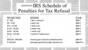 (Fantasy) IRS Schedule of Penalties for Tax Refusal showing that lower levels of tax refusal get you jail time, higher levels get you dinner invitations and judgeship appointments