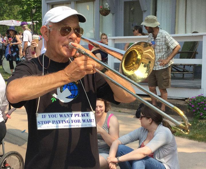 Ed Kale in Memorial Day parade wearing a NWTRCC shirt