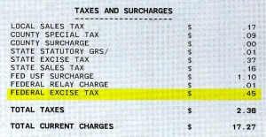 "look for a line-item reading ""Federal Excise Tax"" in the ""Taxes and Surcharges"" section of your phone bill"