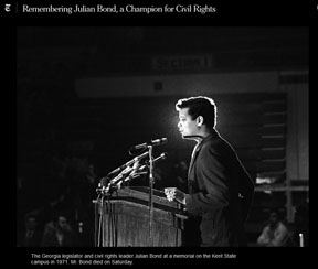 Julian Bond at a podium