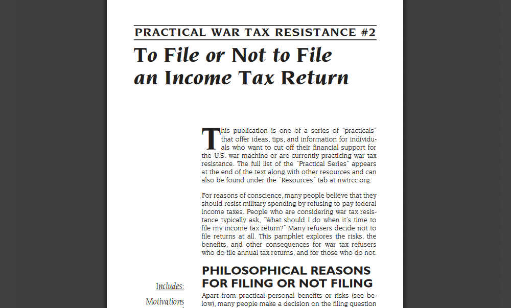 Practical war tax resistance 2 national war tax resistance practical war tax resistance 2 national war tax resistance coordinating committee ccuart Image collections