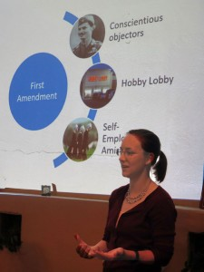 Jennifer Carr giving her talk about the Religious Freedom Peace Tax Bill on Friday night.
