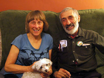 Peter and Mary Sprunger-Froese with their small dog Scout