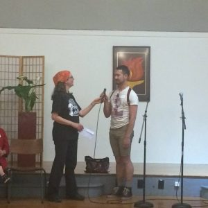 Receiving a People's Life Fund grant for Veteran Artists to #popthebubble — attending People's Life Fund — 2016 Granting Ceremony at Berkeley Fellowship of Unitarian Universalists.