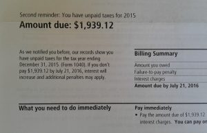 "image of IRS letter with heading ""Second reminder: You have unpaid taxes for 2015 - Amount due: $1,939.12"""