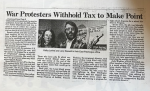 "image of newspaper article with headline ""War Protesters Withhold Tax to Make Point,"" showing Kathy Levine and Larry Bassett next to the NWTRCC logo"