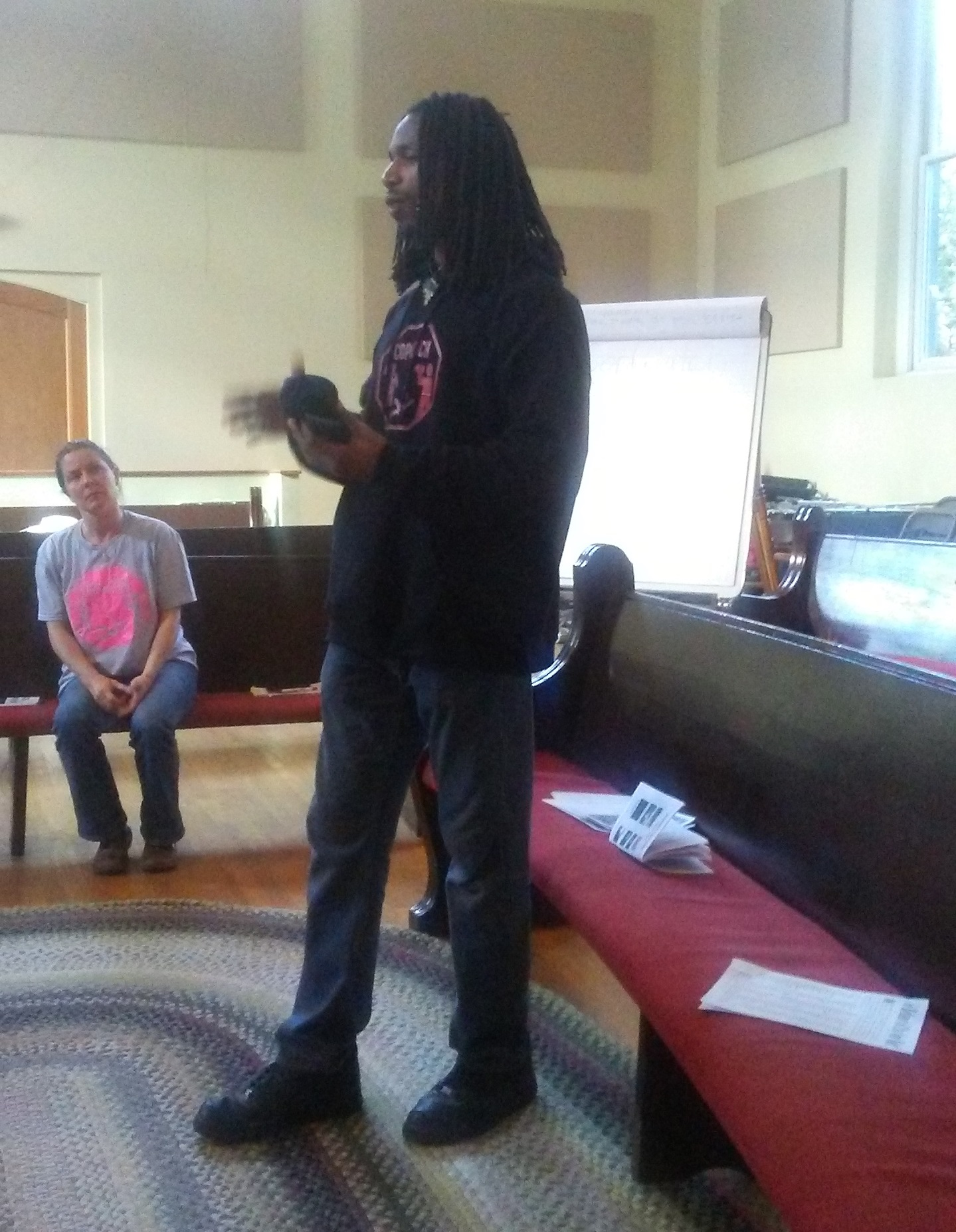 David from WeCopwatch giving the workshop; Chrissy Kirchhoeffer in background