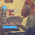 "image of Juanita Nelson speaking, with text of quote: "" Is it ever right not to refuse to pay taxes, when that money is used to kill? We stand in danger of making a god of the law. An official decree cannot make a wrong thing right. Must I continue to do harm until the state give me license to stop?"""