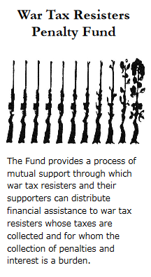 brochure cover from War Tax Resisters Penalty Fund, featuring image of a row of rifles gradually turning into a rose bush