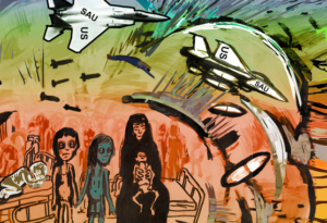 """mixed media artwork showing planes labeled """"SAU"""" and """"US"""" dropping bombs on a mother and children sitting on a hospital bed"""
