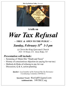 workshop for war tax resistance Stone Ridge NY