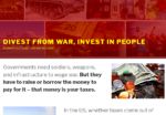 screenshot of the Divest from War, Invest in People website at wartaxdivestment.org