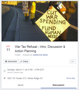 screenshot of Facebook event for War Tax Refusal - Intro, Discussion & Action Planning