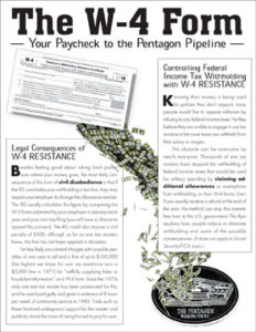 W-4 resistance info for war tax resisters