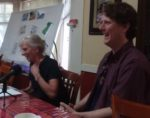 Ruth Benn and Lincoln Rice laughing during May 5, 2018 coordinator transition discussion.