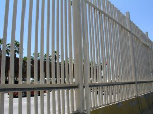 the US Mexico border fence at a port of entry