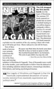 Never Again flyer Hiroshima Nagasaki