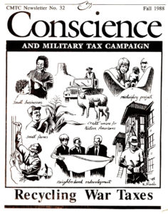 cover of Conscience newsletter with issue title Recycling War Taxes and illustrations showing different way to redirect war taxes