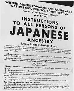 A poster issued on April 1, 1942 detailing requirements of Japanese Americans