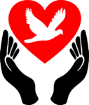 dark hands releasing a red heart with a white dove within it