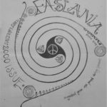 the cover of Faslane Peace Camp's 2000 publication, Faslania, featuring a spiral black and white design with Celtic designs and a peace sign in the middle