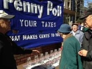 People are invited to participate in a penny poll of where they would like their taxes spent