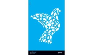 blue background with image of bird formed from small images of soldiers military equipment and bombs
