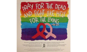 Colors of the rainbow as background and the words of Mother Jones written 'Pray for the dead and fight like hell for the living' with a red and pink ribbon beneath wording