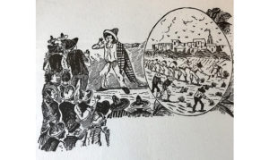 black and white print of people gathered and imagining a new world