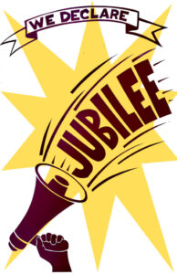 graphic of megaphone in one hand and words jubilee emerging from megaphone with star behind words