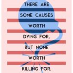 light pink background with 6 darker pink horizontal lines with a blue image of a bomb in background with a quote of Albert Camus