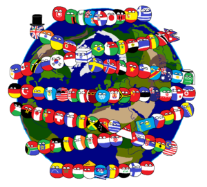 small balls covered in flags wrapping around image of the world