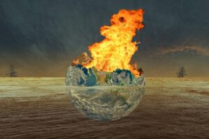 Earth at center engulfed in flames in brown water